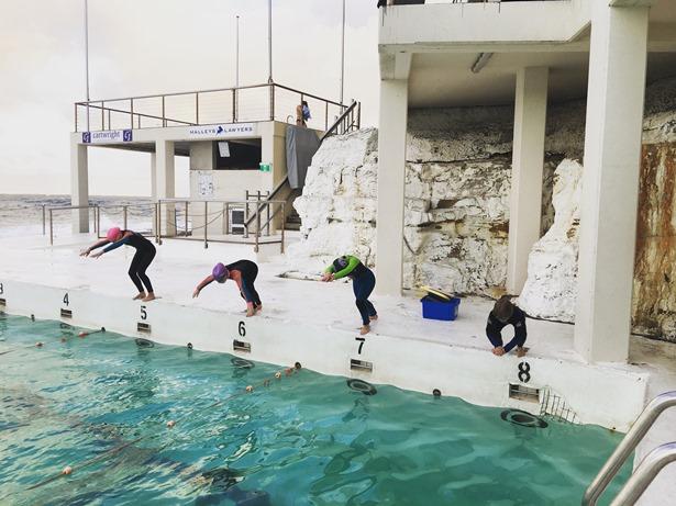 child squad swimming race